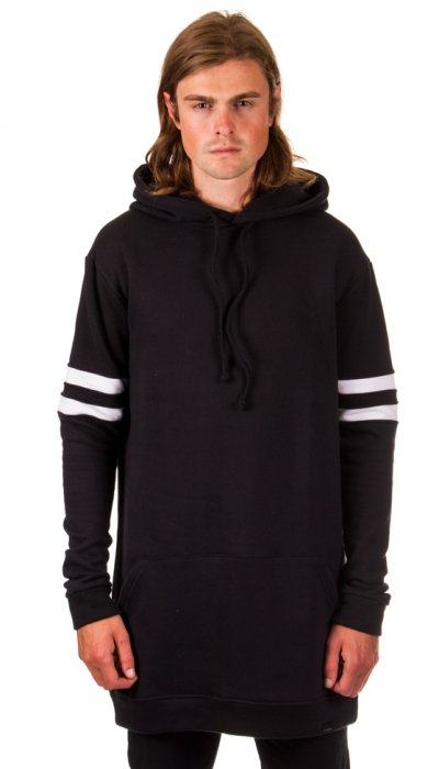 Two Stripe Hooded Sweater - Black