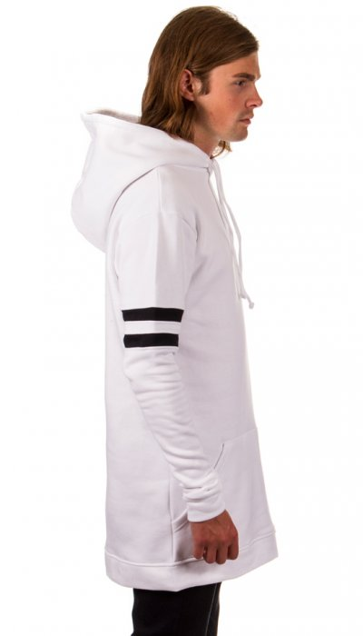 Two Stripe Hooded Sweater - White