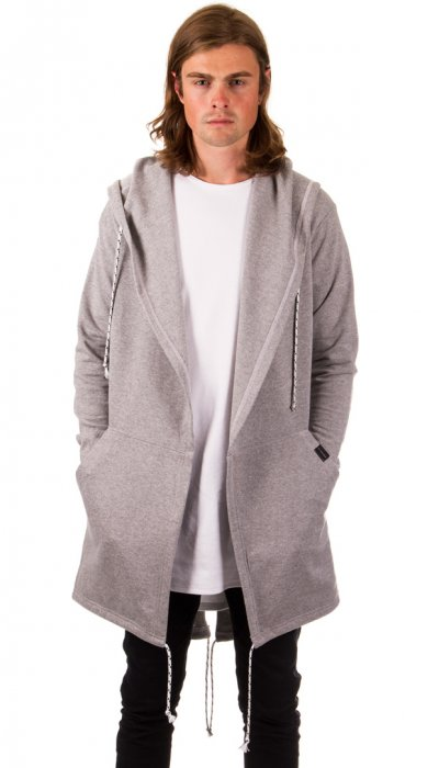 Open Front Hooded Sweater - Grey