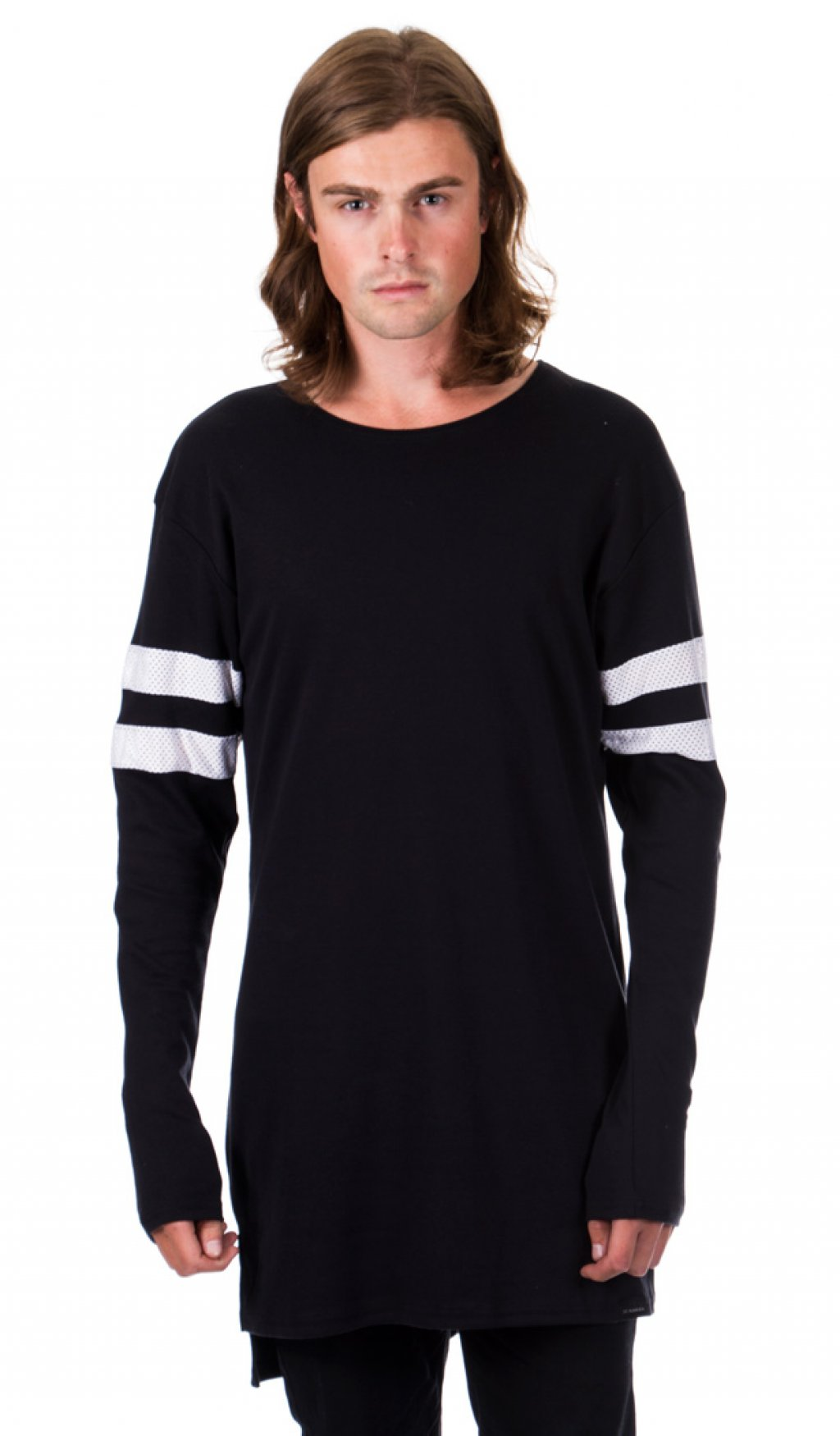 Black t shirt with white stripes - 2 Stripe Long Sleeve T Shirt Black