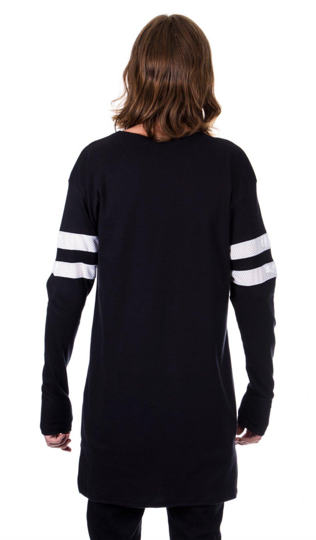 Black t shirt with white stripes - 2 Stripe Long Sleeve T Shirt Black